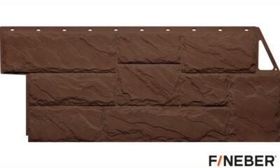 фасадная панель fineber камень крупный коричневый